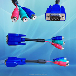 3 RCA Female Connector + SR HDB 15Pin Male VGA Cable