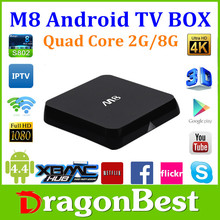 m8 ott tv box S802 Quad Core Android4.4 2g 8g Support 2.4GHz wireless mouse and keyboard via 2.4GHz USB dongle