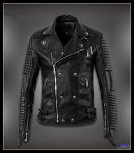 Special Design Wholesale Price Punk Style Fashion Coat Black Man Leather Jacket 2013
