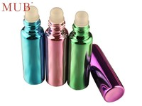Empty Colorful 10ml Glass Tube Roll On Deodorant Bottles Refillable Perfume Oil Bottle With Plastic Roller Ball