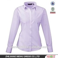 Premier Poplin Long Sleeve Womens Ladies Blouse Plain Work Shirt