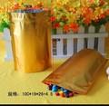 aceitar a ordem personalizada cor ouro resealable saco da folha