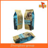 Aluminum Foil Gusset Food Bag Pouch With 4 Side Seals Made Of Brown Logo Printed Paper