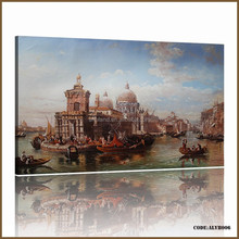 Hot sales in Russia market of high quality venice building oil painting reproduction from china