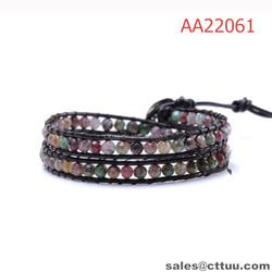Wholesale leather Boho Chic fancy beads wrap bracelet