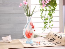 Chinese Style Goldfish Pattern Ceramic Vase