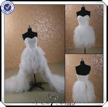 jj2946 querida frisado saia removível vestido de noiva 2014
