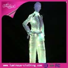 fiber optic clothing luminous led sexy fancy women pant suits for wedding