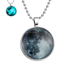 BLUE PLANET--Earth Glow Pendant Necklace Glowing Jewelry DIY jewelry--accept your picture to do it.
