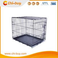 Folding Dog Crate Metal Pet Cage With Plastic Tray