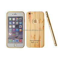 3D printing wooden pattern metal frame with PC back mobile phone case for iphone 5 5s 6 6plus
