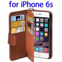 Wallet Style Six Card Slots Genuine Leather Case for iPhone 6s with Lanyard