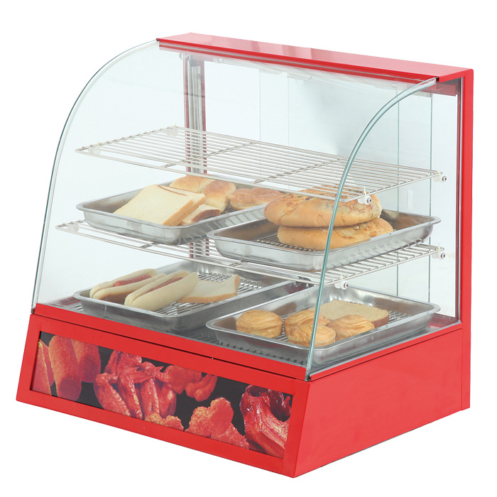 Curved Glass Food Display Warmer CE Safe Food Warmer Showcase