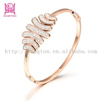 italina rose gold crystal bangle 316L stainless steel jewelry