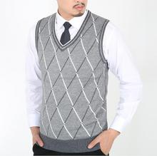 2015 New fall classic style v-neck organic cotton men's formal argyle sweater vest