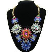 Trendy Fashion Women Beautiful Choker Statement Necklaces Luxury Multicolor Crystal bib jewelry pendant necklace