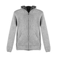Winter Mens Cardigan Sweater Fur Wool Lining Hoodie Knitted Man Jacket Hooded Coat Life Jacket