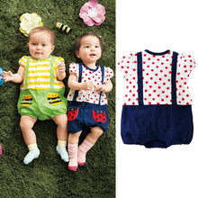 animal fruit cartoon baby clothes soft baby short sleeve desis for girl