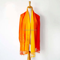 Fashion acrylic ladies ombre embroidered scarf with beads
