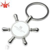 Custom Bulk Silver Keychain Metal Ship Wheel Keychain
