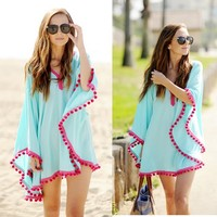 2015 V-neck Bikini Cover Up Cotton Tassel Ruffles Batwing Sleeve Beach Dress Swimwear Beachwear
