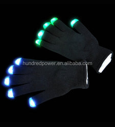 2015 hot sell fashion and cool flashing led light up black glove