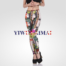 2014 YIWU Factory crane sports wear womens yoga leggins printed leggings pant clothing garment stock lot sales