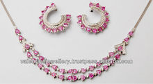 pink sapphire and diamond designer set, two line necklace and earring set in white gold, custom make gold jewelry at wholesale p