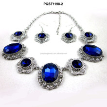 2015 new products ocean blue diamond engraved flower necklace jewelry sets