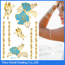 Charming gold and blue 3D temporary tattoo beautiful flower and butterfly flash tattoo supply