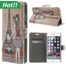 Printing PU Leather Wallet Case For iPhone 6 Flip Cover with Card Holder Slots and Stand Function