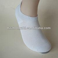 Men's white fishnet design polyester sport boat socks