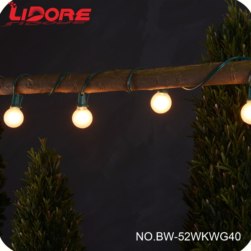 LIDORE Holiday Decoration Globe String Light with Incandescent G40 Bulbs
