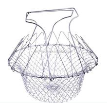 Amazon Best Seller Stainless Steel Frying Basket /Foldable Kitchen Chef Basket