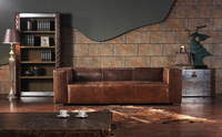 Top real leather brown 3 seater sofa saled A641