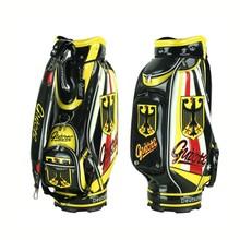 "best golf cart bag 10"" PU Leather Golf Staff Bag Standard Ball Package Bag Rainhood German Flag Guiote 7-pocket"