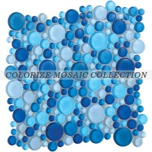 Colorize blues color glass crystal circular mosaic tile for home decoration (CS019)