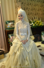 Ladylike Lace Beading Long Sleeves High Collar Floor Length Muslim Bridal Wedding Dress