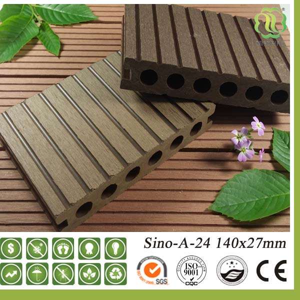 Anti Slip Tongue And Groove Wood Composite Decking