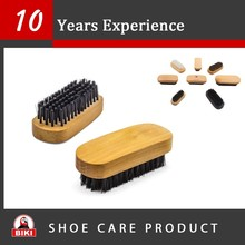 Pig Hair wooden handle shoe hog hair brush for sneaker
