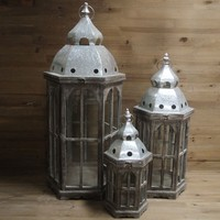 moroccan antique hanging wooden candle lantern