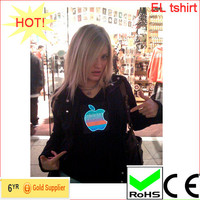 flash/flashing el ladies tshirt, fashion design flash light tshirt panel