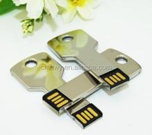 unique new design jewllery key shape usb flash drive sliver metal usb flash disk for promotional gifts