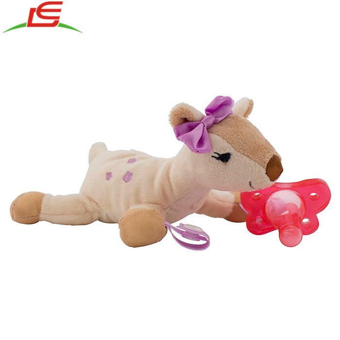Pink Baby Toy Pacifier Teether Holder with Soft Plush Animal Deer3.jpg