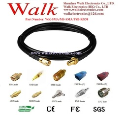 cable assembly for antenna, SMA male straight to SMA female straight bulkhead with RG58 cable