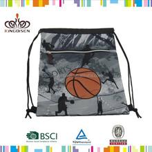 Custom drawstring backpack in basketball shape