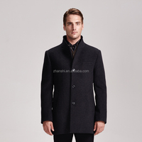 Spring Autumn Outwear Long High Collar Woolen Trench Coats For Men