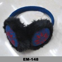 Fashion Knit Snowflake fur ear muff earmuff