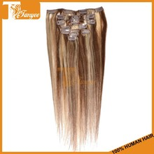 Fashionable 5A Grade Brazilian Hair Weaving Blonde Color #4/613 Natural Straight Clip In Extensions