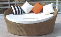 Round Outdoor Furniture Double Wicker Woven Poly Resin Rattan Bed